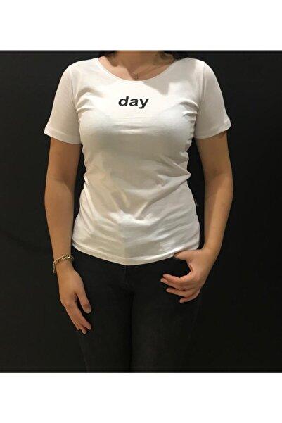 Panda Unisex Beyaz Day Baskılı T-Shirt