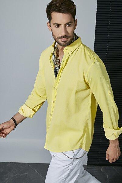 Sateen Men Erkek Sarı Uzun Kol Pamuk Gömlek