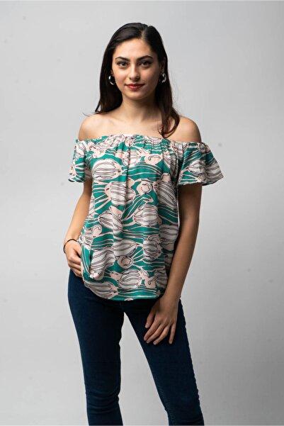 CNS Kadın Koyu Yeşil Desenli Düşük Yaka Bluz