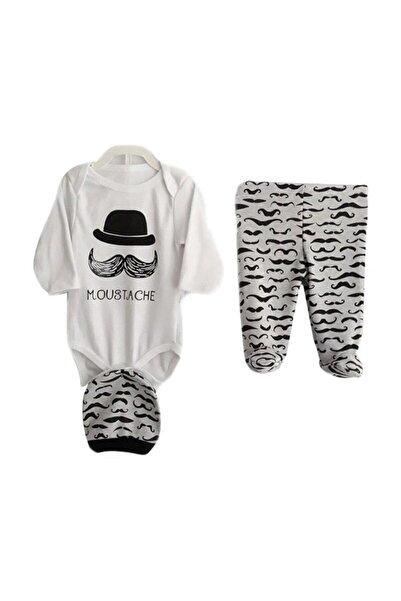 bebegen Erkek Bebek Beyaz Moustache Bıyıklı Şapkalı 2'li Takım