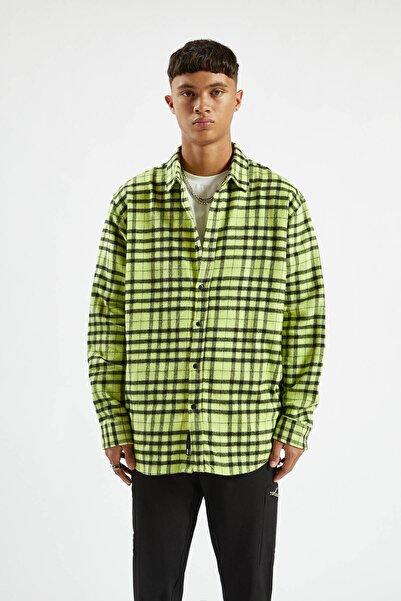 Pull & Bear Erkek Limon Yeşili Kontrast Renkli Kareli Gömlek 09470520