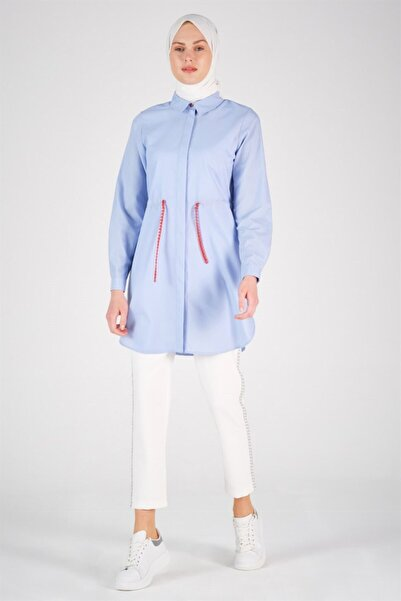 Armine Kadın Bebe Mavi Zincir Detaylı Gömlek 20y3813