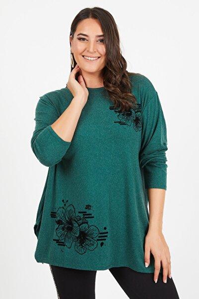 Siyezen Büyük Beden Yeşil Salaş Etek Ucu Baskılı Uzun Kol Bluz