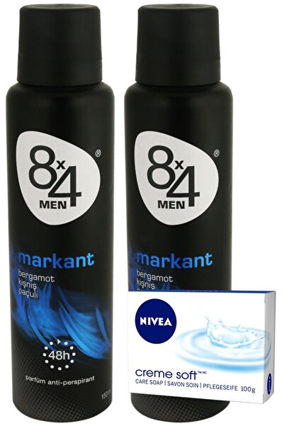 8x4 Markant Pudrasız Unisex Deodorant Sprey 150 ml X 2 Adet