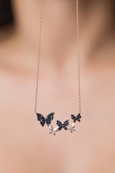 Kadın Kelebek ModelRose Kaplama 925 Ayar Gümüş Kolye
