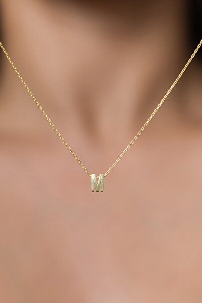 Elika Silver Kadın Üç Boyutlu M Harf Altın Kaplama 925 Ayar Gümüş Kolye
