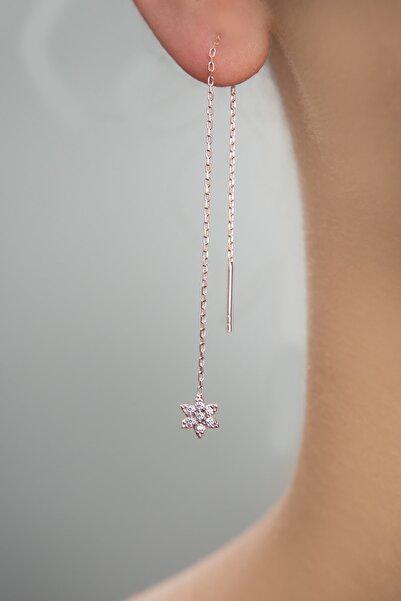 Elika Silver Kadın Çiçek Model Rose Kaplama Sallantılı 925 Ayar Gümüş Küpe