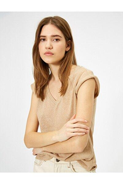Kadın Bej V Yaka T-shirt 0YAK13001OK