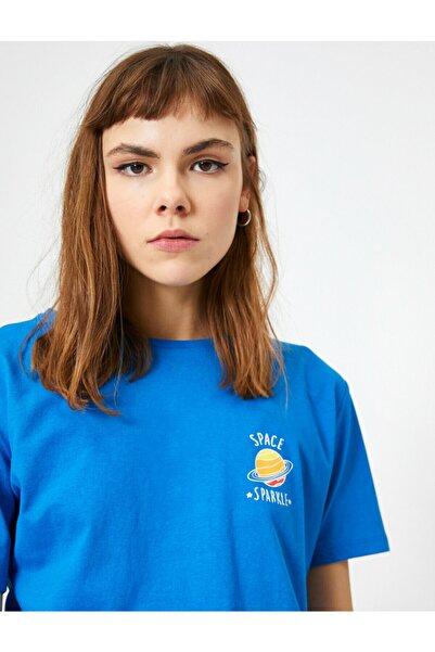 Koton Kadın Mavi Bisiklet Yaka Minimal Baskılı Kısa Kol T-Shirt