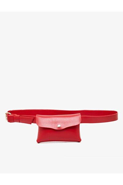 Koton Kadın Kırmızı Deri Görünümlü Bel Çantasi