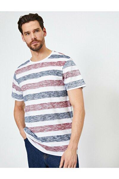 Koton Erkek Beyaz Çizgili T-Shirt 0YAM14289OK