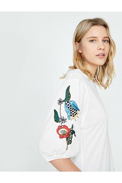 Koton Kadın Beyaz İşlemeli T-shirt