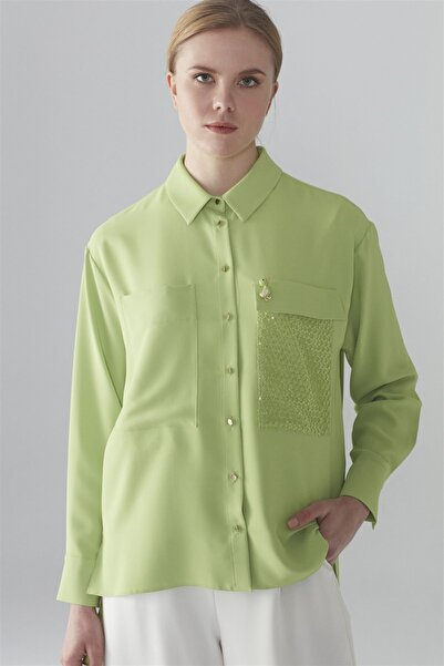 Zühre Kadın Broş Detaylı Gömlek Yeşil G-0029