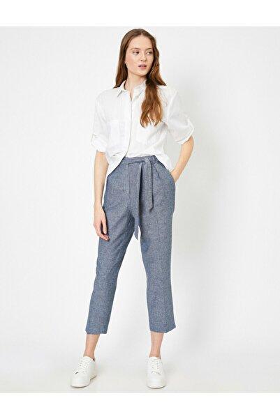 Koton Kadın Mavi Cep Detayli Pantolon 0YAK42681UW