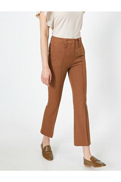 Koton Kadın Kahverengi Kısa Paça Kumaş Pantolon