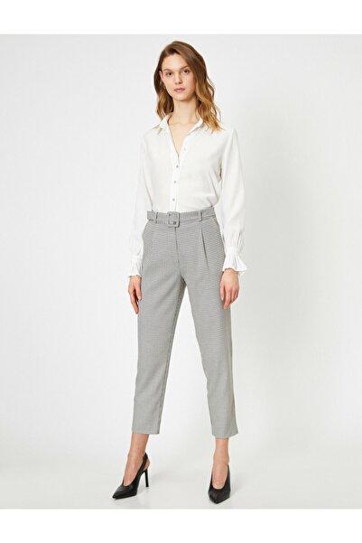 Koton Kadın Gri Yüksek Bel Kemer Detaylı Ekoseli Pantolon