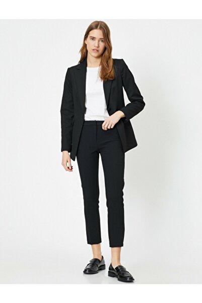 Kadın Siyah Cep Detayli Pantolon