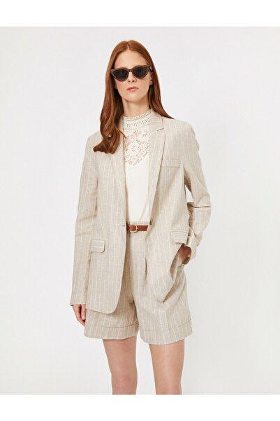 Koton Kadın Bej Çizgili Ceket 0YAK52257UW