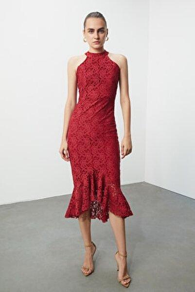 Kırmızı Dantel Elbise TPRSS19DU0116