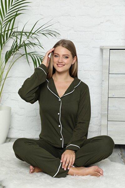 İzolli Kadın Haki Düğmeli Uzun Kol Pamuklu Likralı Pijama Takım