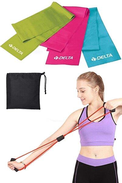 Delta Çantalı 3 Lü Pilates Bandı Lastiği 90x7.5 Cm + Tutamaçlı Egzersiz Tübülü Direnç Lastiği Seti