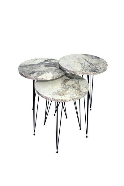 Navis Home Metal Ayak Zigon Sehpa Çay Sehpası Yan Sehpa 3'lü Zigon -beyaz