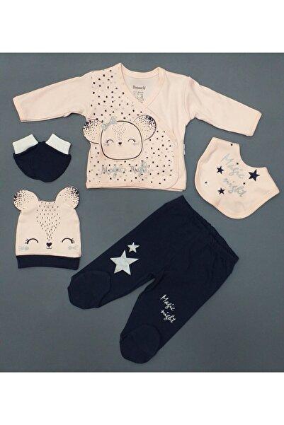 İmaj Miniworld Kız Bebek Magıc Nıght Desenli 5 Parça Zıbın Takım, %100 Pamuk Ürün