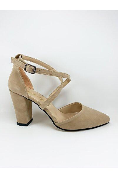 Daisy Kadın Vizon Süet  Kalın Topuklu Çapraz Bantlı Stiletto