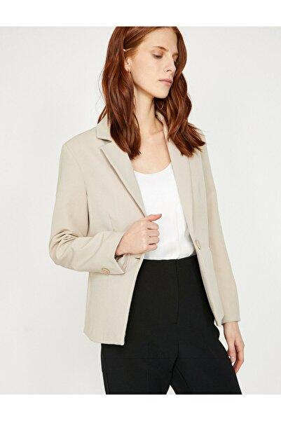 Koton Kadın Gri Cep Detaylı Ceket