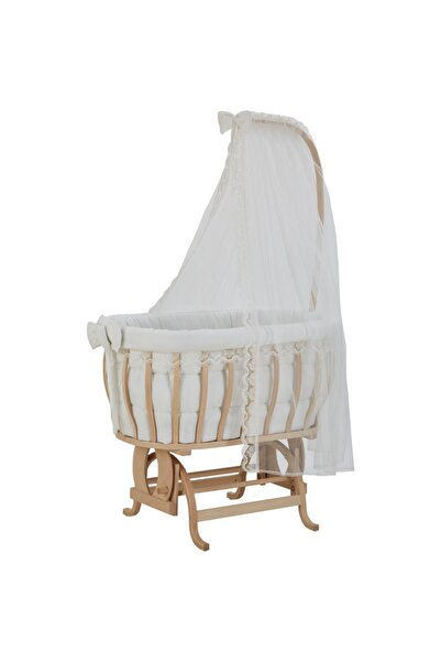 Babycom Doğal Boyasız Ahşap Sepet Beşik + Fransız Dantel Uyku Seti