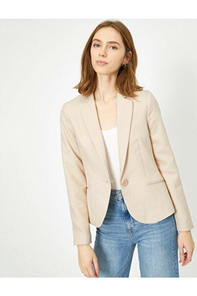Koton Kadın Bej Cep Detaylı Ceket