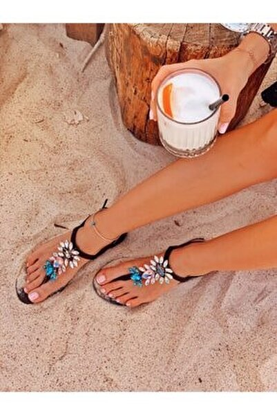Rio Glam Black Kristal Cam Taş Detaylı Kadın Sandalet