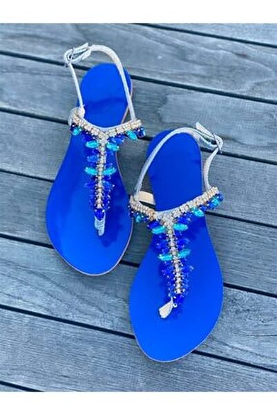 Rio Aqua Blue Taşlı Sandalet