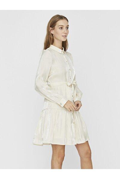 Vero Moda Kadın Ekru Uzun Kollu Belden Bağlamalı Gömlek Elbise 10233985 VMCHIARA