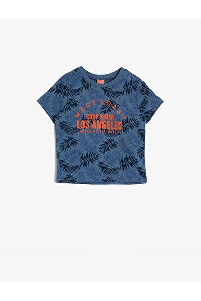 Koton Kids Erkek Bebek Mavi Yazılı Baskılı T-shirt