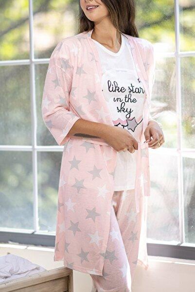 Kadın Somon Yıldız Desenli Penye 5 Li Pijama
