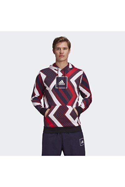 adidas Erkek Bordo Allover Print Sweatshirt