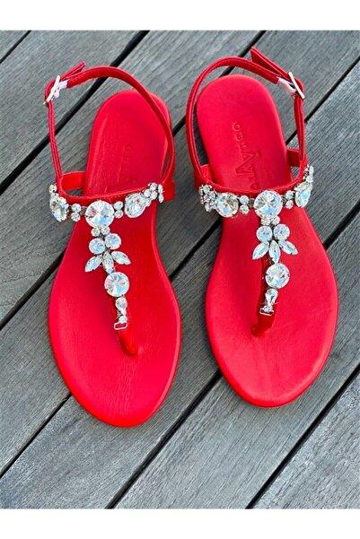 Oblavion Lavin Hakiki Deri Kırmızı Taşlı Sandalet