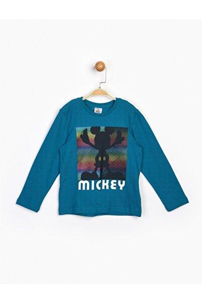 Mickey Mouse Erkek Çocuk Petrol Mickey Uzun Kol Tişört 16232