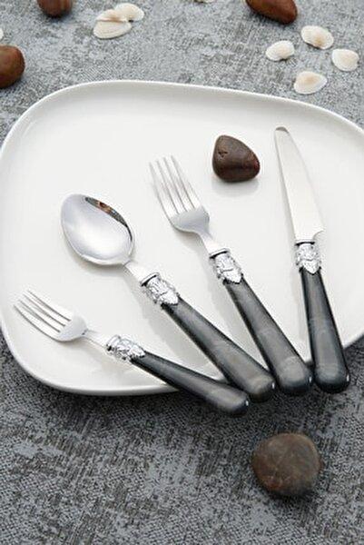 Maria Paslanmaz Çelik 24 Parça Çatal Kaşık Bıçak Takımı - Siyah