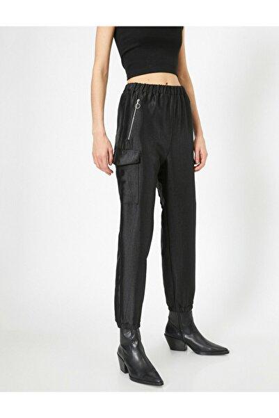 Kadın Siyah Cep Detayli Pantolon 0YAL48052OW