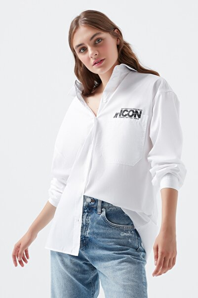 Mavi Kadın Icon Baskılı Beyaz Gömlek 122653-620