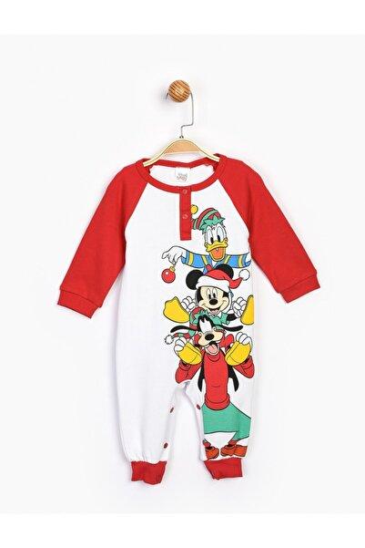 Mickey Mouse Bebek Kırmzı Mickey Patiksiz Bebek Tulum 16180