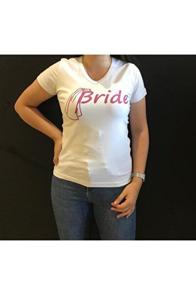 Panda Kadın Beyaz Bride Yazılı Beyaz T-shirt