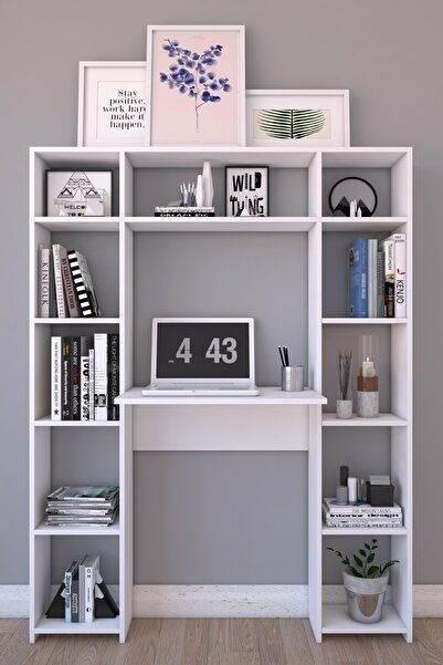 Platinreyon Platin Çift Kitaplıklı Çalışma Masası 180 Cm Yükseklik