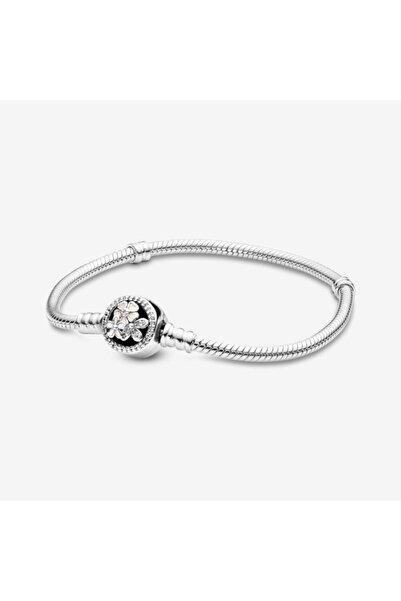 My Story Pandora Charm Uyumlu Çiçekli Yılan Zincir Gümüş Charm-bileklik