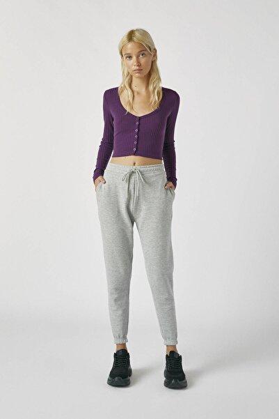 Pull & Bear Kadın Melanj Gri Elastik Paçalı Basic Jogging Fit Pantolon 05670324