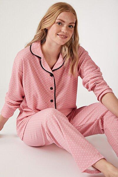 Happiness İst. Kadın Canlı Pembe Puantiyeli Örme Pijama Takımı GL00021