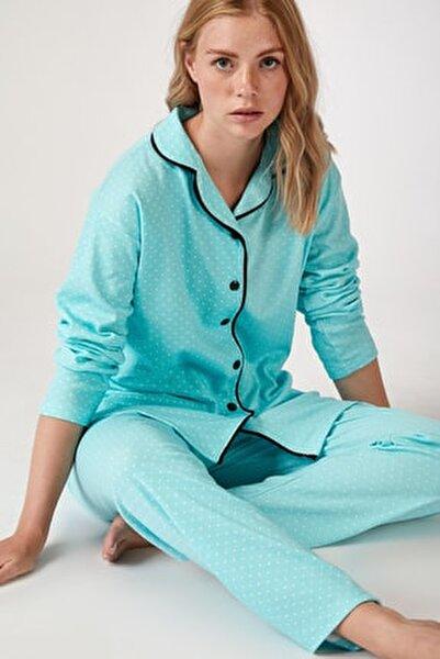 Kadın Su Yeşili Puantiyeli Örme Pijama Takımı GL00021