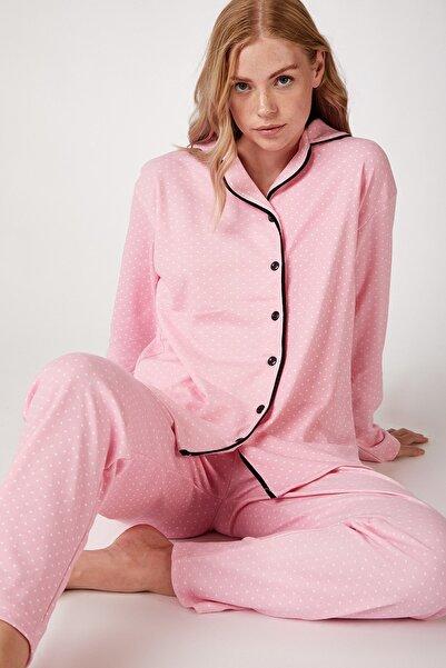Happiness İst. Kadın Pembe Puantiyeli Örme Pijama Takımı GL00021